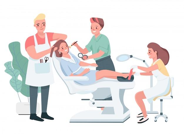 美容トリートメントカラーキャラクター。男性の美容師が散髪をしています。美容師がメイクを適用します。ペディキュアをしている女性。ビューティーサロン手順分離漫画イラスト