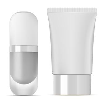 化粧品チューブとファンデーションボトル。白いパッケージ
