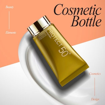 Cosmetic tube mockup design illustration