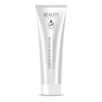 Cosmetic tube mockup template silver color.