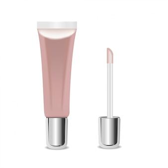 液体のアイシャドウまたはリップグロス、ピンク色の化粧品のチューブ。