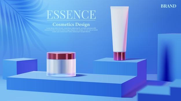 파란색 사각형 연단 배경에 핑크 빛과 그림자 잎 화장품 튜브