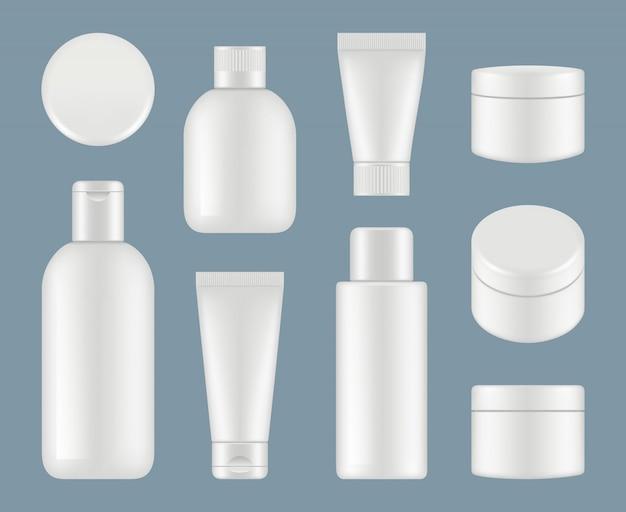 Косметические трубки. макияж пластиковые пакеты и круглые контейнеры белый макет Premium векторы