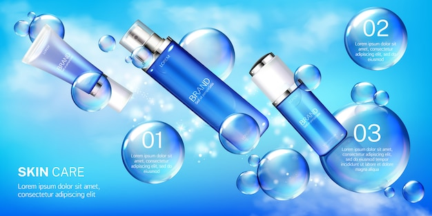 Cosmetic tubes with bubbles banner template