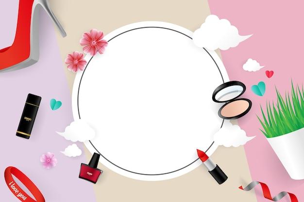 化粧品ベクトルイラストバナーテンプレートのデザイン