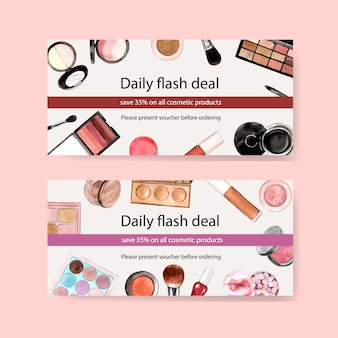 Cosmetic voucher set with brush on, eyeshadow, lipstick