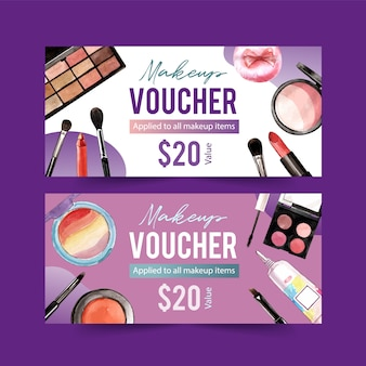 Cosmetic voucher set with eyeshadow, highlighter, lipstick