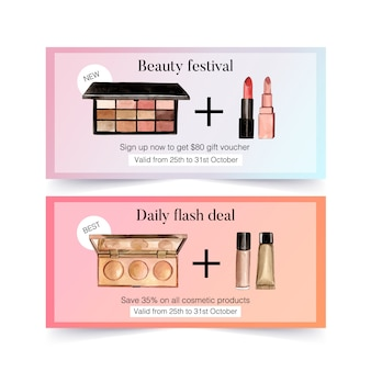 Cosmetic voucher set with eyeshadow, lipstick, concealer
