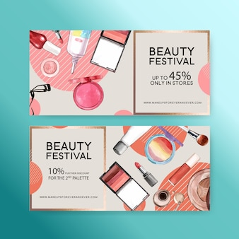 Cosmetic voucher set with lip tint, eyelash curler