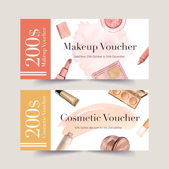 Cosmetic voucher set with lipstick, brush on, foundation