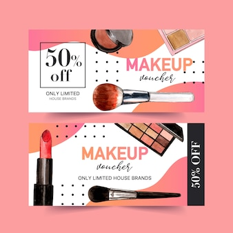 Cosmetic voucher set with lipstick, eyeshadow