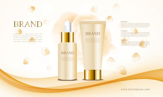 Cosmetics ads with yellow blackground