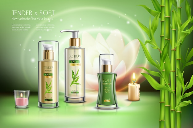 Cosmetics advertising skin softening beauty balm creme moisturizer sprays dispensers aromatic candles bamboo stalks realistic composition