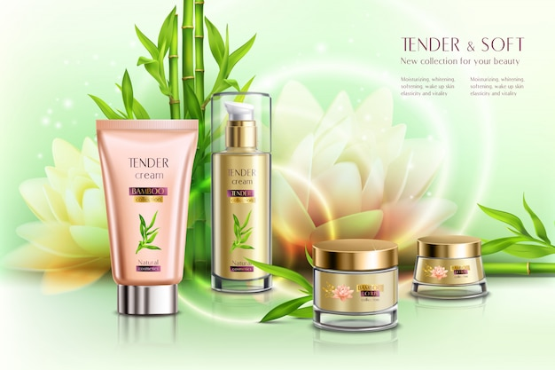 Cosmetics advertising skin softening day night moisturizing cream dispenser tube pots lotus flower realistic composition