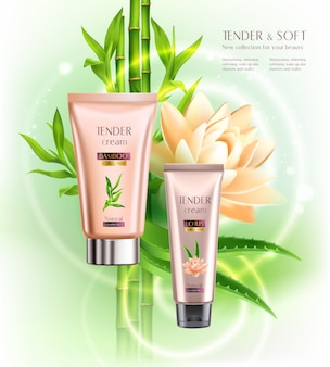 Cosmetics advertising skin softening moisturizing tender cream tubes realistic composition with lotus flower bamboo stalks