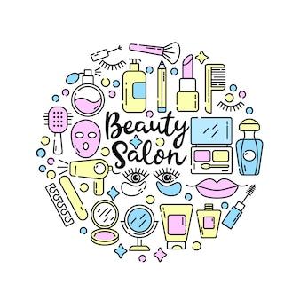 トレンディな直線的なスタイルの化粧品と美容アイコン-女性の美容室を設定します。