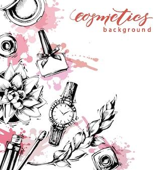 メイクアップアーティストオブジェクトの化粧品とファッションの背景:リップグロス、マニキュア、レディースウォッチ、ブラシ。テンプレートベクトル。