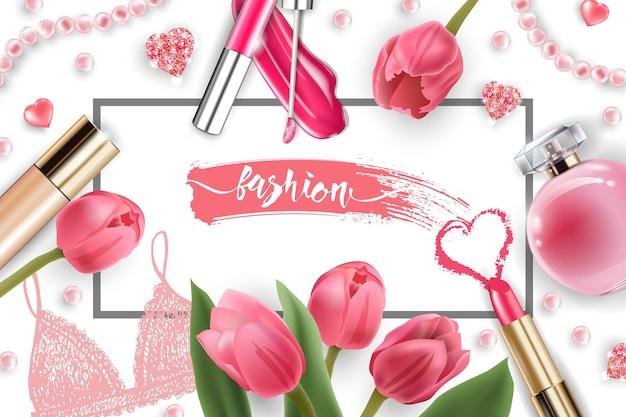 메이크업 아티스트 개체가 있는 화장품 및 패션 배경:립글로스, 향수, 분홍색 진주 구슬, 반짝이는 하트. 파운데이션, 핑크 립스틱. 핑크 튤립 봄과 발렌타인 데이 개념