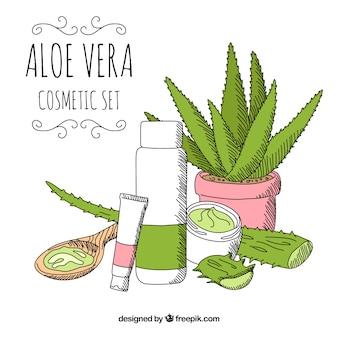 Cosmetics background hand drawn with aloe vera