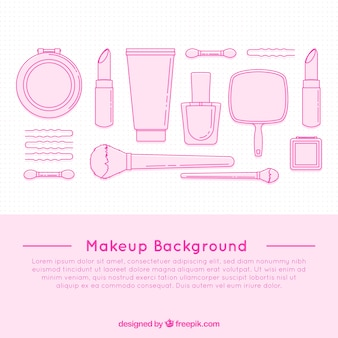 Cosmetics background with hand drawn style