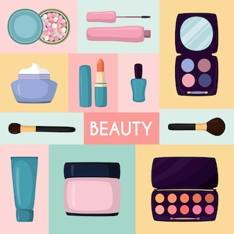 Cosmetics in bag, bagful makeup masters pink color with set plaster shadows, creams and lipsticks,    illustration