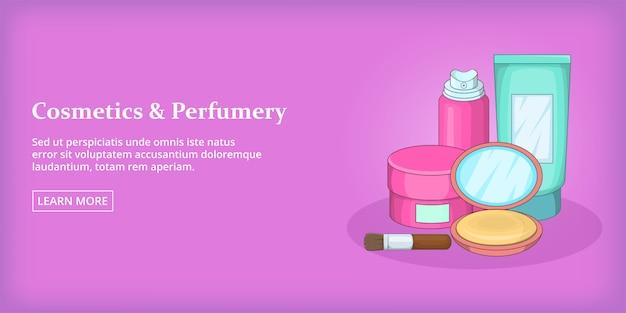 Cosmetics banner horizontal, cartoon style