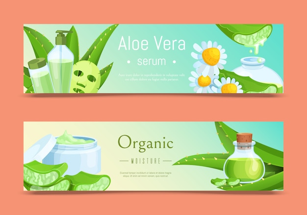 Cosmetics banner illustration, aloe vera organic natural cosmetic beauty product. green leaf plant for skin care.