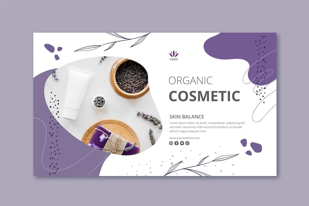 Cosmetics banner template with photo