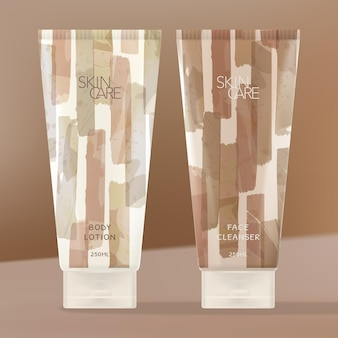 Cosmetics or beauty tubes with watercolor brushed stripes pattern