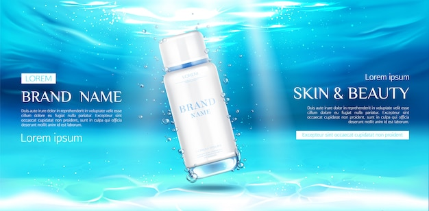 Cosmetics bottle advertising on underwater surface
