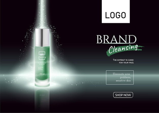 Cosmetics bottle on light effect green  banner cosmetic tube  product ads realistic 3d vector