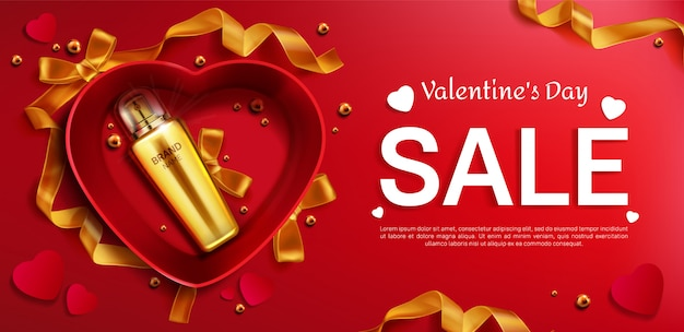 Cosmetics bottle for valentine s day sale banner
