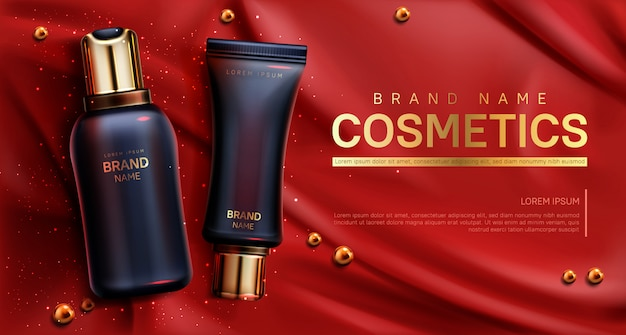 Cosmetics bottles banner. beauty body care