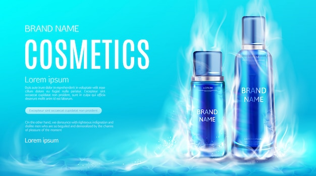 Cosmetics bottles in dry ice smoke cloud. cooling beauty cosmetic product tubes, makeup remover, cream or tonic advertising banner template