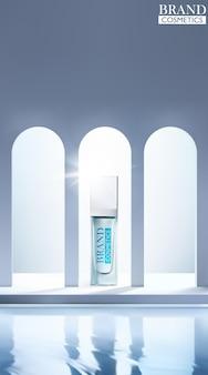 アーチ型の窓と水の背景を持つ化粧品ボトルのモックアップ