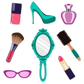 Cosmetics collection and beauty items