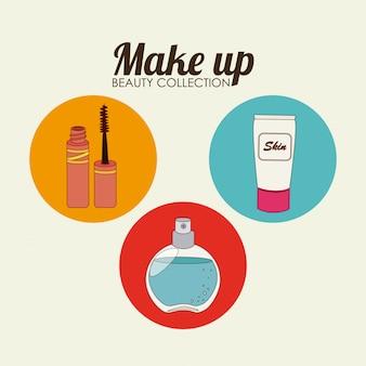 Cosmetics design over beige illustration
