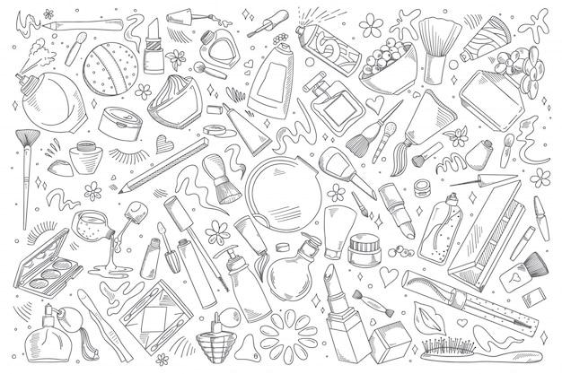 Cosmetics doodle set