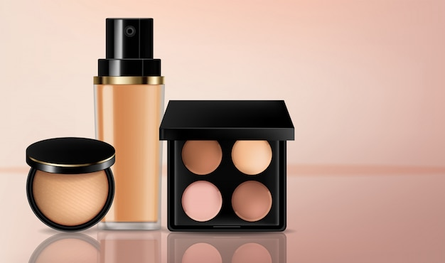 Cosmetics eye shadow and foundation collection