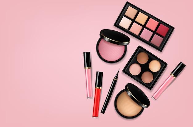 Cosmetics eye shadow, lip gloss and powder blush background
