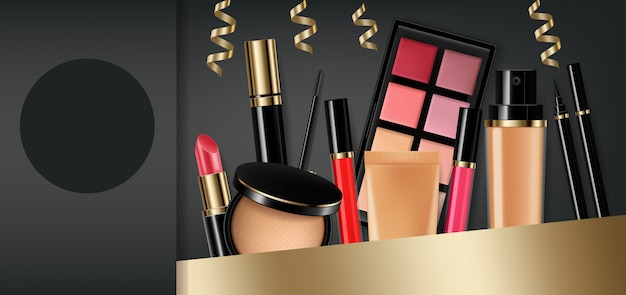 Cosmetics eye shadow, lip gloss and powder blush collection