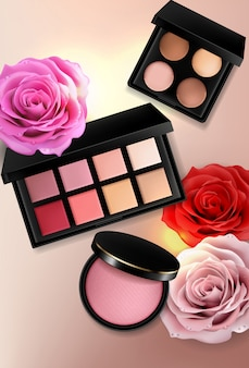 Cosmetics eye shadow, lip gloss and powder blush collection