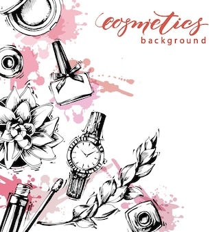 Cosmetics and fashion background with make up artist objects: lip gloss, nail polish, womens watch, brush. template vector.