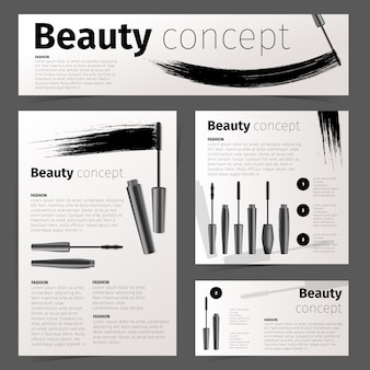 Cosmetics fashion cards, banner and flyer with realistic cosmetic objects. stationery