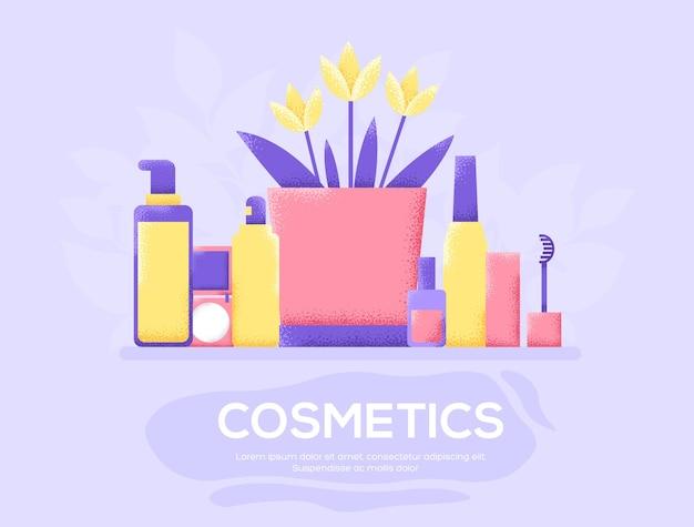 化粧品チラシ、雑誌、ポスター、本の表紙、バナー。木目テクスチャとノイズ効果。