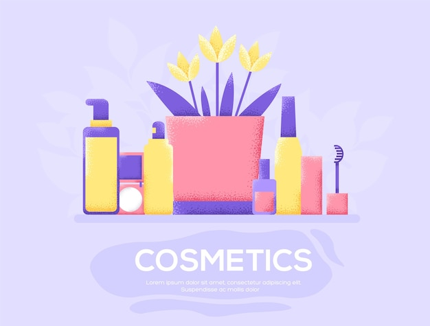 Cosmetics flyer, magazines, poster, book cover, banners. grain texture and noise effect.