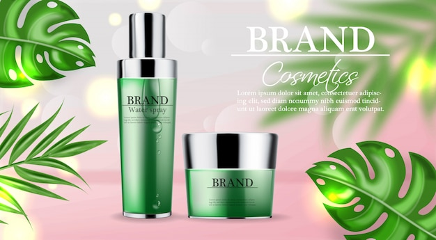 Cosmetics green cream and spray banner template