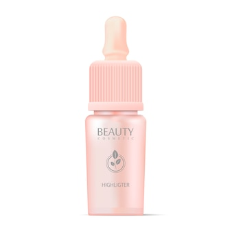 Cosmetics highligter bottle with dropper