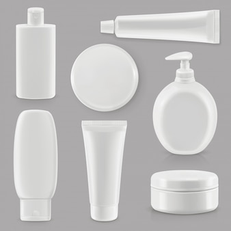 Cosmetics and hygiene, plastic packaging, set mockup