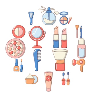 Cosmetics icon set, cartoon style